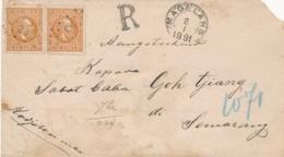 Nederlands Indië - 1891 - 2x10 Cent Willem III Op R-cover Van KR- En Puntstempel MAGELANG Naar Semarang - Niederländisch-Indien