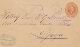 Nederlands Indië - 1890 - 10 Cent Willem III, Envelop G6 Van KR- En Puntstempel MALANG - Na Posttijd - Naar Djocja - Niederländisch-Indien