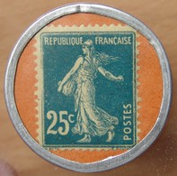 Timbre Monnaie 25 Centimes Dentifrice BOTOT 25 Centimes Bleu Sur Fond Orange - Monetary / Of Necessity