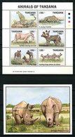 TANZANIE 1993 N° 1236/1241 Bloc 191 ** Neufs MNH Superbes C 12.10 € Faune Guépard Lionne Lycaons Rhinocéros Animaux - Tansania (1964-...)