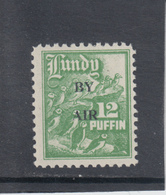 #15 Great Britain Lundy Puffin Stamp 1951-53 By Air Wide Overprint #69A-76A 12p Mint. Free UK P+p! Offers? - Local Issues