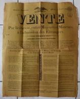 RARISSIME Affiche De Vente De Biens Immobiliers En Meurthe Et Moselle Du 21 Mars 1830 Superbes Cachets - Fiscaux