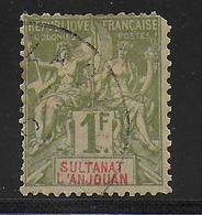 ANJOUAN - YVERT N° 13 OBLITERE RARE MAIS DEFECTUEUX (DENT COURTE) - COTE = 100 EUR. - Used Stamps