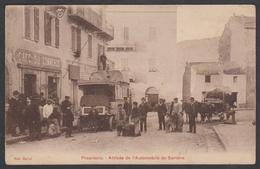 Belle Cpa Corse 2A - Propriano - Arrivée De L'automobile De Sartène - Edit. Mattei - Animée - Café Du Commerce - Autres Communes