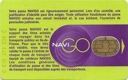 CARTE A PUCE CHIP CARD TRANSPORT METRO AUTOBUS TRAMWAY CARTE NAVIGO PARIS RÉGION - Biglietti Di Trasporto