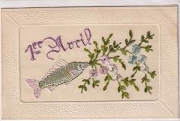 1er Avril (carte Brodée) - 1er Avril - Poisson D'avril
