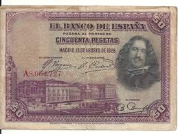 ESPAGNE 50 PESETAS 1928 VF P 75 - 50 Pesetas