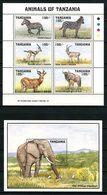 TANZANIE 1993 N° 1248/1253 Bloc 194 ** Neufs MNH Superbes C 12.50 € Faune Zèbre Gazelle Gnou Veau Eléphant Animaux - Tansania (1964-...)