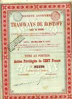 TRAMWAYS De ROSTOFF Sur Le Don; Action - Chemin De Fer & Tramway