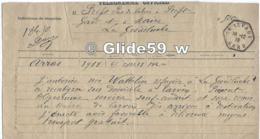 Télégramme Du 28-12-1918 - Préfet Pas-de-Calais à Préfet Du Gard Et Maire La Grand-Combe - Transport Réfugiée WATTELIER - Vieux Papiers