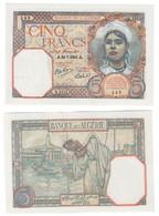 Algeria 5 Francs 30/07/1941 UNC/AUNC - Algeria