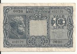 ITALIE 10 LIRE 1944 VF P 32 - Regno D'Italia – 10 Lire