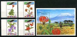 TANZANIE 1993 N° 1254/1257 Bloc 196 ** Neufs MNH Superbes C 10.75 € Flore Fleurs Senecia Petraeus Gloriosa Flowers - Tansania (1964-...)