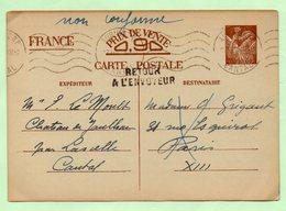 """ENTIER POSTAL IRIS - Mention Manuscrite """"NON CONFORME"""" + Griffe """"RETOUR A L'ENVOYEUR"""" - 1940 - - Entiers Postaux"""