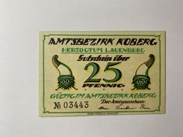 Allemagne Notgeld Koberg 25 Pfennig - [ 3] 1918-1933 : République De Weimar