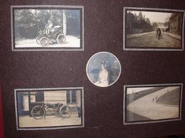 Photo Ancienne à Identifier Moto Motocyclette à Trois Roues Circuit Course Voiture Ancienne - Cars