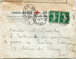 FRANCE LETTRE CENSUREE A ENTETE DE LA CROIX-ROUGE FRANCAISE DEPART EVIAN LES BAINS ?-2-16 Hte SAVOIE POUR LA FRANCE - Croix-Rouge