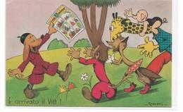 """CARD CRAVERI PUB. """" IL VITTORIOSO""""ANIMALI UMANIZZATI GIRAFFA CANE VOLPE SCIMMIA  -FP-N-2-0882-29420 - Otros Ilustradores"""