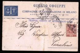 COMPAGNIA ASSICURAZIONE MILANO - AGENZIA DI PISA - CARTOLINA INTESTATA DEL 1904 PER PIOMBINO - Commercio