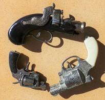 Lot De 3 Petits Pistolets Miniatures Déco.des Années 70 - Armes Neutralisées