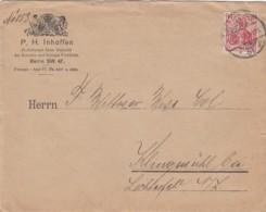 Deutsches Reich Brief Werbung/Firmenlochung 1907 - Cartas