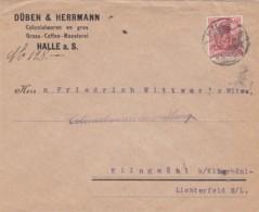 Deutsches Reich Brief Werbung/Firmenlochung 1908 - Cartas