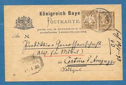 1898 KONIGREICH BAYERN POSTKARTE 3 PFENNING + 3 PF. TO CORTINA D'AMPEZZO ITALY - Bavaria