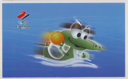 Water Polo,Mascot Yangtze Alligator Lala,China 2001 Beijing World Summer Universiade Advert Pre-stamped Card - Wasserball