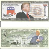Billet Campagne Presidentielle US Capitol- One Million Trump 2020 Dollars, Dollar - Photo, Signature Donald Trump - Specimen