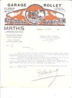 GARAGE ROLLET -MATHIS LORRAINE-DIETRICH    HYERES 1928  COURRIER - Agricultura