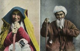 Uzbekistan Russia, Types Of Central Asia, Old Man And Woman (1910s) Postcard - Ouzbékistan