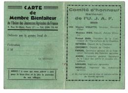 """Carte De Membre Bienfaiteur """" Union Des Jeunesses Agricoles De France - U.J.A.F"""" Vierge - Sigle Au Verso - Old Paper"""