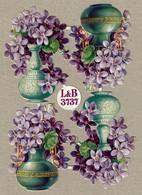 Littauer & Boysen - L & B 3737 - SCRAP -  DECOUPIS  - Gaufré / Embossed - Flowers - 2 Scans - Flowers