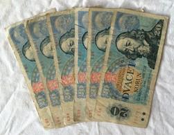 Lot De 6 Billets De 20 Korun, Tchécoslovaquie,1988. - Cecoslovacchia