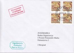 JUGOSLAWIEN 4x 2999 UNMIK  MeF, Auf Brief: Jugoslawische (Serbische) Post Im Kosovo, Mit St: K.Mitrovica 9.2.2001 - Briefe U. Dokumente