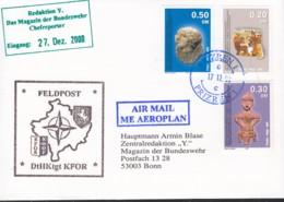 KOSOVO UNMIK 1-3 MiF, Auf Feldpost-Luftpost-Brief Der KFOR DHKtgt, Mit Stempel: Prizren 17.12.2000 - Mission D'administration Intérimaire Des NU Au Kosovo (MINUK)