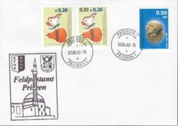 KOSOVO UNMIK 3, 8, 13 MiF, Auf Feldpost-Brief Der KFOR, Mit Stempel: Prizren 30.4.2002 - Mission D'administration Intérimaire Des NU Au Kosovo (MINUK)