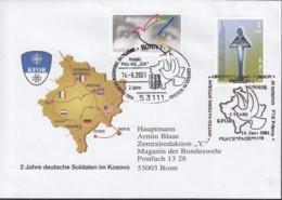 KOSOVO UNMIK 4 MiF Mit BRD 2045, Auf Feldpost-Brief Der KFOR, Mit SoStempel: Prizren 14.6.2001 - Mission D'administration Intérimaire Des NU Au Kosovo (MINUK)