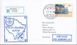 KOSOVO UNMIK 26 EF, Auf Feldpost-R-Luftpost-Brief Der KFOR (GE) EinsKtgt, Mit Stempel: Prizren 25.10.2005 - Mission D'administration Intérimaire Des NU Au Kosovo (MINUK)