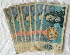 Lot De 7 Billets De 20 Korun, Tchécoslovaquie,1988. - Tschechoslowakei