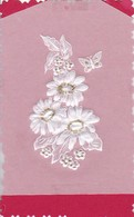 Oblate - Blumen Schmetterlinge - Ca. 8*5cm - Auf Karton 7,5*12cm  (47940) - Flowers