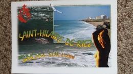 CPM SAINT HILAIRE DE RIEZ VENDEE SION L OCEAN PIN UP FEMME NUE PLAGE MOUETTE BLASON VENDEE - Saint Hilaire De Riez