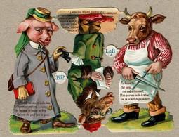 German Littauer & Boysen L & B N° 3972 SCRAP -  DECOUPIS  - Gaufré / Embossed - Animaux Humanisés - 3 Scans - Animals