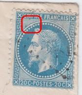 N°29B Sur Enveloppe Variété Suarnet 98, Position 45B3, Renflement Cercle Nord Ouest, RRR, TB - 1863-1870 Napoleon III With Laurels