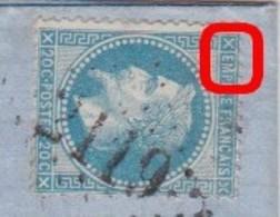 N°29B Sur Lettre Variété Suarnet 59, Position 9A2, M De EMPIRE Relié Au Cadre, TB - 1863-1870 Napoleon III With Laurels