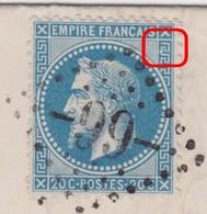 N°29B Sur Lettre Variété Suarnet 91a, Position 26A2, Encoche Dans La Grecque NE, TB - 1863-1870 Napoleon III With Laurels