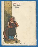 Menu Paul Court DIJON Grands Vins De Bourgogne Illustrateur L COP - Sommelier Tonneau Vigne Vigneron Pipette - Menu