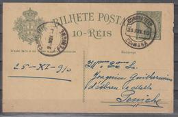 POSTAL CIRCULADO DE COIMBRA PARA PENICHE - 1910 : D.Manuel II