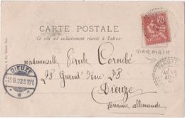 PARMAIN (95)  FACTEUR BOITIER Sur MOUCHON. 1903 . POUR DIEUZE. ALSACE-LORRAINE. - Elzas-Lotharingen