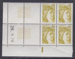 France N° 1971 Type Sabine : 80 C.jaune-olive En Bloc De 4 Coin Daté à Gauche  Du 26 . 5 . 78 ; 1 Barre, Sans Char., TB - 1970-1979